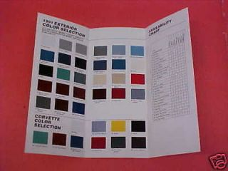 1991 CHEVROLET CAMARO CORVETTE CAPRICE COLOR PAINT CHIPS CHART