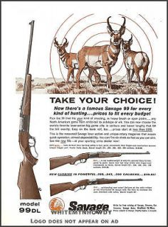 1961 SAVAGE Model 99 99 DL RIFLE AD 61 Prices~99 F & 99 E Carbine w
