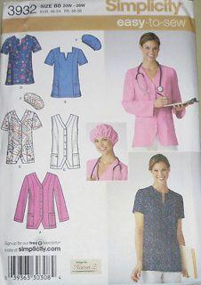 Simplicity Womens PLUS Nurses SCRUBS Medical Top Hat Jacket Pattern