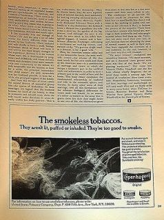 1970 Copenhagen smokeless tobacco too good to smoke original print