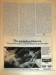 1970 Copenhagen smokeless tobacco too good to smoke original print