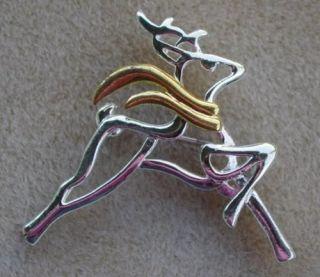 Silver & Gold Reindeer Christmas 2 Brooch Lapel Pin