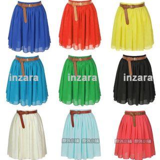 Retro Women Ladies Pleated Double Layer Chiffon Mini Skirt Short Dress