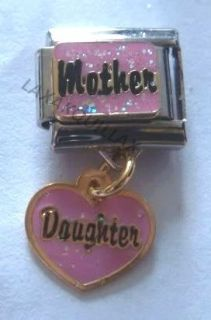 Italian Charm   MOTHER & DAUGHTER Pink Heart Dangle Love MUM fits 9mm
