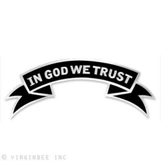 WE TRUST US MOTTO CHRISTIAN BIKER UPPER ROCKER LARGE EMBROIDERED PATCH