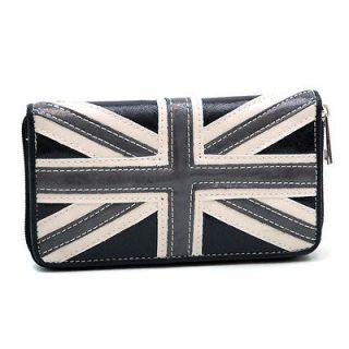 British Flag Zip Around Checkbook Wallet   Black