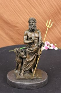 Greek Mythology God of Sea W/3 headed Dog Bronze Statue Sculpture