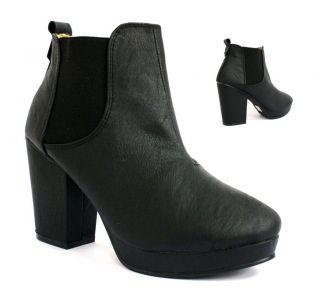 91w womens ladies black ankle high heel platform chelsea boots