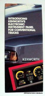 Kenworth 1980 1985 Electronic Instrument Panel Truck Brochure