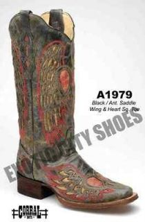 Corral Womens Cowboy Boots Black/Antique Saddle Wing & Heart Square