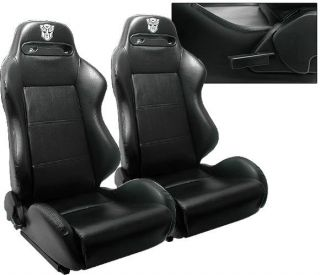 CHEVY CAMARO BLACK PVC LEATHER RACING SEATS & BRACKETS (Fits Camaro