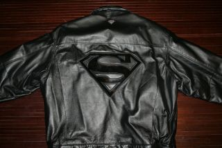 WARNER BROS SUPER MAN BLACK LEATHER JACKET THE MAN OF STEEL AMAZING