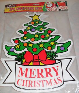2PC MERRY CHRISTMAS TREE/SANTA SIGN DECORATION INDOOR OUTDOOR RED