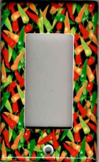 CHILI PEPPERS ON BLACK ROCKER GFI LIGHT SWITCH PLATE