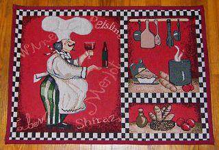 Italian FAT CHEF Decor Bistro Wine Kitchen Accent Tapestry Rug Floor