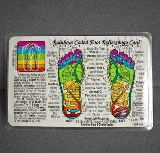 Rainbow Coded Foot Reflexology Laminated Wallet Card Chart 1994 Mint