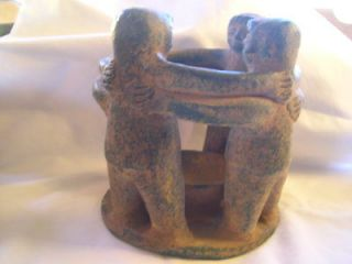PRIMITIVE CIRCLE OF FRIENDS CANDLE HOLDER 4 FRIENDS MEXICAN RED CLAY