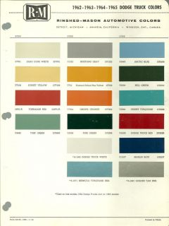 1962/1963/1964 /1965 DODGE TRUCK Color Chip Paint Chart Brochure R M