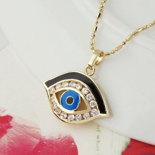 14k gold plated blue eye zircons Pendant and necklace  Gift Jewelry