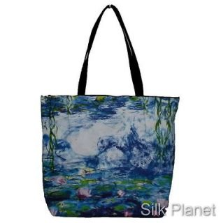 CLAUDE MONET WATER LILIES LILY POND PAINTING TOTE SHOPPING BAG FINE