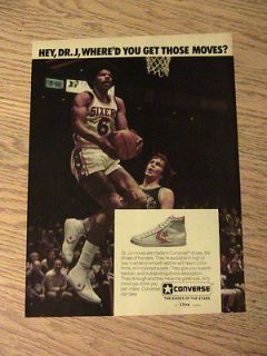1977 DR J WHERE YOU GET THOSE MOVES ADVERTISEMENT CONVERSE SHOES AD
