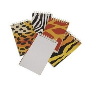12 WILD ANIMAL PRINT NOTE BOOK MEMO PAD Safari Zoo Party Goody Bag