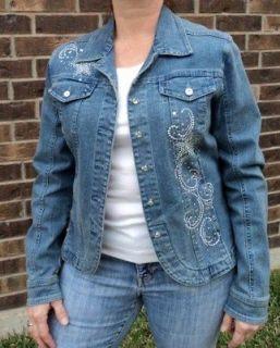 Christine Alexander Designer Womens Swarovski Crystal Denim Jean