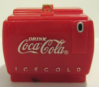 1993 ENESCO COCA COLA COOLER W/SANTA BEAR PLASTIC ORNAMENT   CHINA