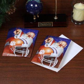 Clemson Tigers 12 Pack Single Santa Painting Design Christmas Cards
