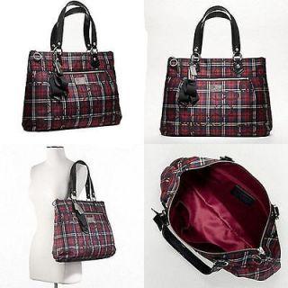 Coach POPPY TARTAN GLAM Black Multi Signature Tote Bag Handbag Satchel