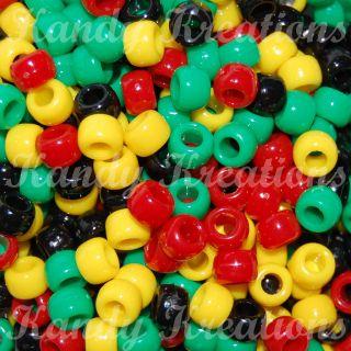 100 Rasta Pony beads 6x9mm for kandi Raver Bracelets Crafts Birds Hair