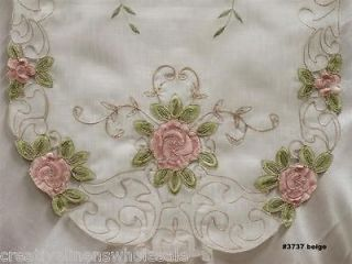 Pink Rose Floral Sheer Placemat Table Runner Tablecloth 3737E