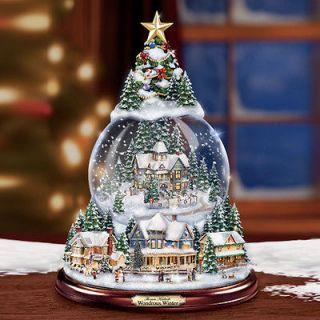 Thomas Kinkades Christmas Snowglobe Tree Lights Up and Musical Globe