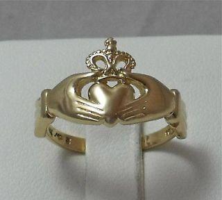 14K YELLOW GOLD NEW IRISH CELTIC CLADDAGH RING UNISEX Sz 7
