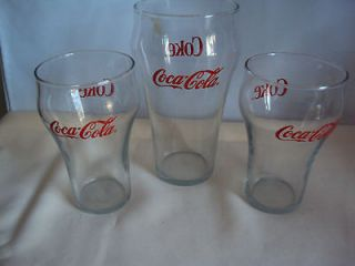 VINTAGE COCA COLA COKE DRINKING GLASSES RED LETTERS SET
