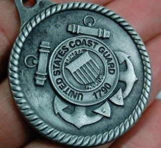 SALE Pewter Silver US Coast Guard Keychain Military Medal Not Just an