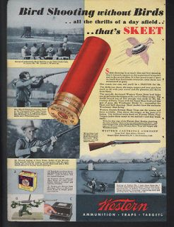 AMMO GROUSE SKEET TARGET WOMAN CLAY PIGEON HUNT GUN SPORT SHELL AD