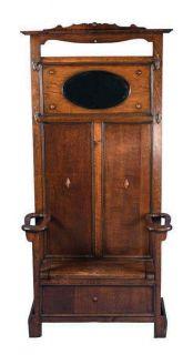 Antique Oak Seated Hall Stand Hall Tree Coat Rack Hallstand Halltree