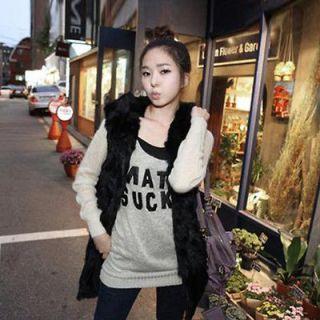 Womens Hoodie Fashion Faux Fur Hooded Vest Long Jacket Cardigan Coats