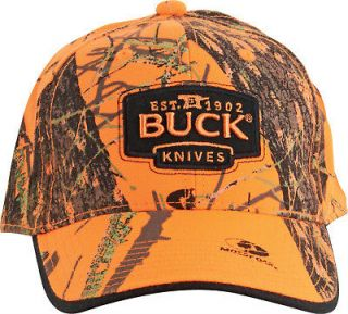 Buck Mossy Oak Blaze Orange Camo Buck Logo Cap NEW