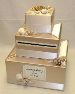 Elegant Custom Made Wedding Card Box Beach theme