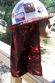 Firey Red Skulls Gothic Flames Hard Hat Neck Shade   Custom Made in