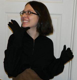 COMME des GARCONS Black Zippered Knit Wrap Top with attached Gloves