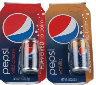 of 2 Novelty Pepsi Cola Lip Balms   Vanilla And Cherry Coke Flavour