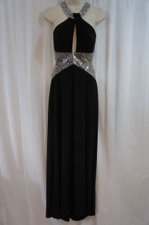 Dress Sz 12 Black Full Length Gown Sequin Straps Open Back Key Hole