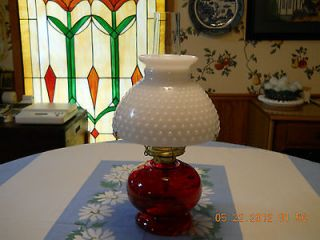 Vtg.Antique Red & White Eagle Oil Hurricane Lamp Red Base & Milk