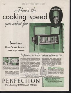 1931 PERFECTION STOVE OIL KEROSENE COOK RANGE KITCHEN