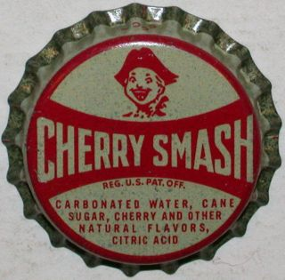 Rare soda pop bottle cap CHERRY SMASH with boy pictured cork lined new