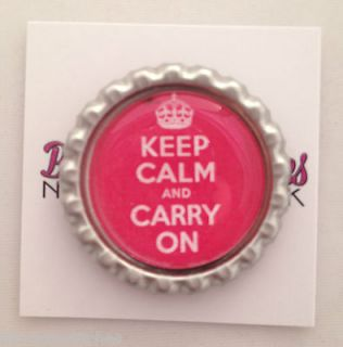 Stitches Pink Keep Calm and Carry On Matte Chrome Frame Needle Magnet