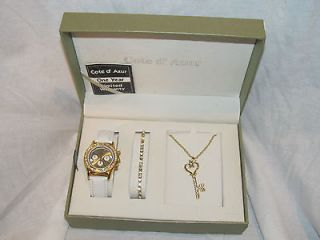 Watch Key Necklace & Bracelet Set by Cote D Azur NEW IN Box